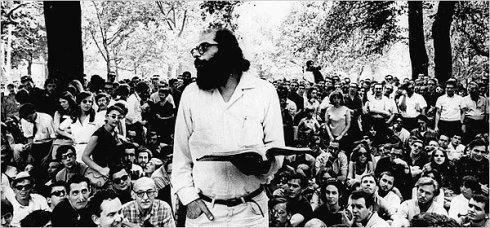 "Allen Ginsberg reading ""Howl"" in Washington Square in 1966. Credit Associated Press .jpg"